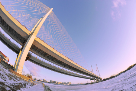 skyway: Big Obukhovsky bridge (cable-stayed) over the Neva river, Saint-Petersburg, Russia