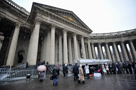 kazanskiy: St. Petersburg, Russia, 19 January: Kazan Cathedral - the tank distribute consecrated water on Christmas day JANUARY 19, 2015, Saint-Petersburg, Russia