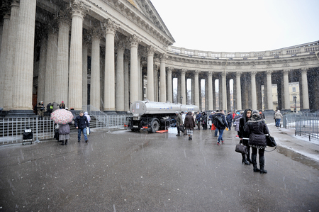 kazanskiy: St. Petersburg, Russia, 19 January: the Kazan Cathedral - the tank distribute consecrated water on Christmas day JANUARY 19, 2015, Saint-Petersburg, Russia Editorial