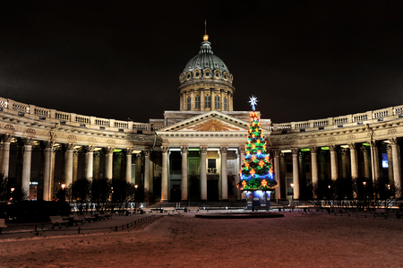 kazanskiy: Night new year view of the Kazan Cathedral in St. Petersburg, Russia Stock Photo