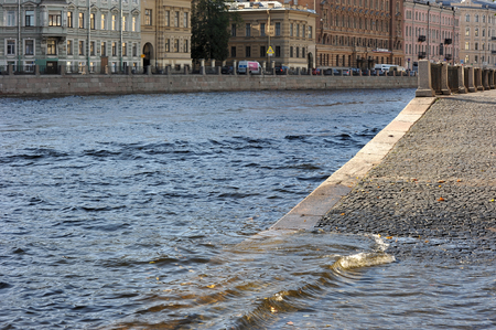 flooding: flooding in St. Petersburg, Russia. the Fontanka river embankment