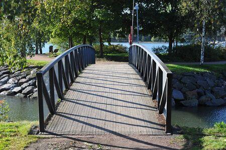 brige: beautiful bridge in the Park of Helsinki in autumn Stock Photo