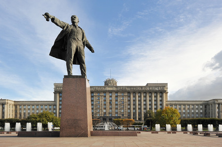 iron curtains: Moscow square and the monument to Lenin in St. Petersburg, Russia