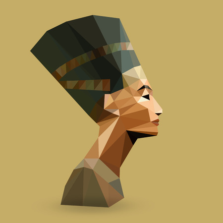 cleopatra: Egyptian Queen Nefertiti - vector illustration in low poly style