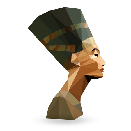 queen nefertiti: Egyptian Queen Nefertiti - vector illustration in low poly style