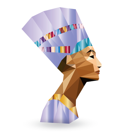 egyptian woman: Egyptian Queen Nefertiti - vector illustration in low poly style