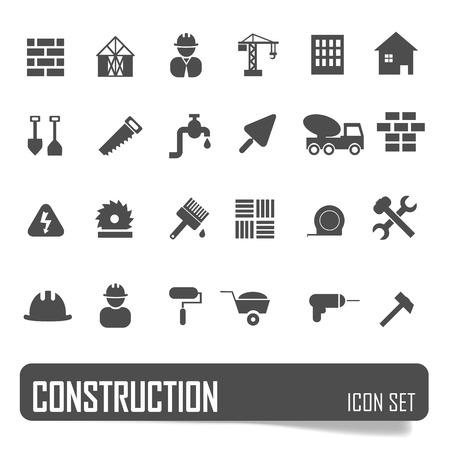 Iconos de la construcción establecidos en el fondo blanco, vector stock