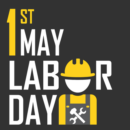 labour day: May 1st Labor (labour) day- vector illustration of international labour day with icon