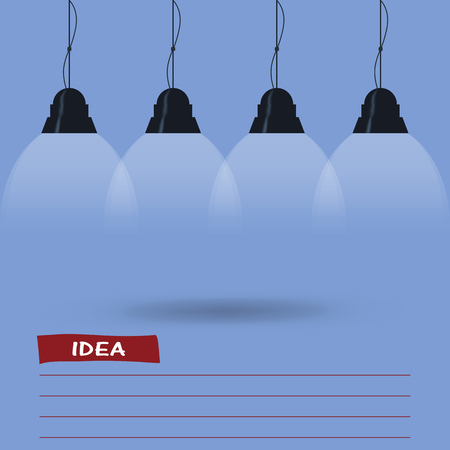 lit image: blue background is lit by lamps. concept of the idea. vector image.