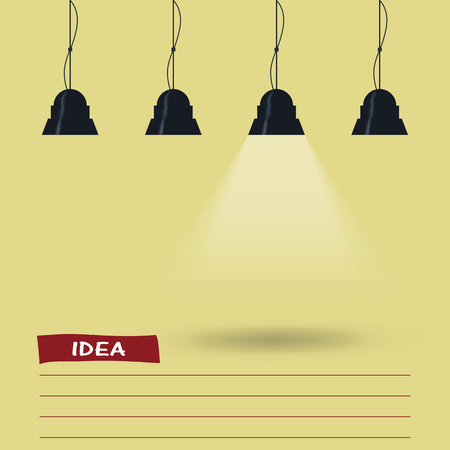 lit image: yellow background is lit by lamps. concept of the idea. vector image.