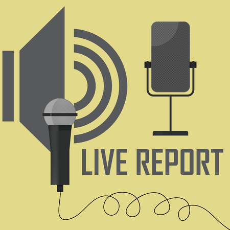 reportage: live stream report - vector illustration with microphones
