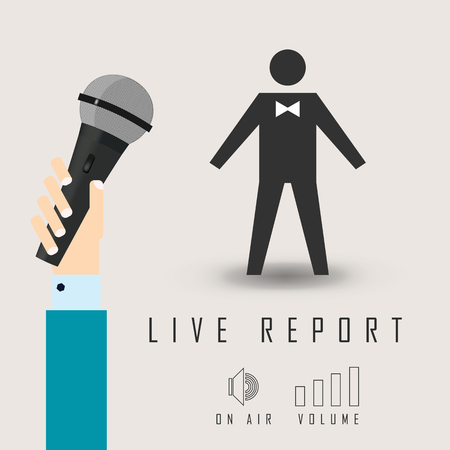 reportage: vector illustration of a live report from the microphone in the air