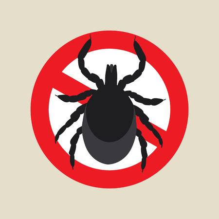 mite: vector image of a tick in a red crossed-out circle - ticks stop sign