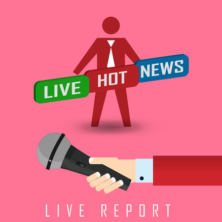 reportage: vector illustration of a live report with button live hot news and microphone