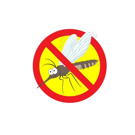 gnat: the mosquitoes stop sign - vector image of funny of a mosquito in a red crossed out circle