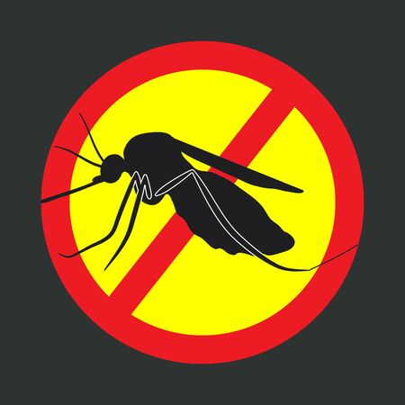 stop mosquito sign: the mosquitoes stop sign - vector image of a mosquito in a red crossed out circle Illustration