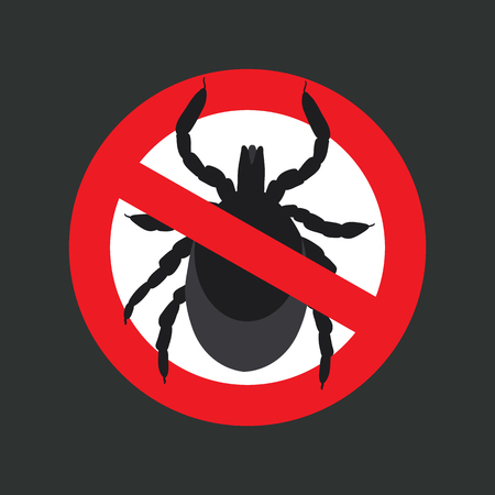 lyme disease: vector image of a tick in a red crossed-out circle - ticks stop sign