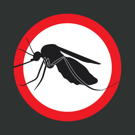 no mosquito: the mosquitoes stop sign - vector image of a mosquito in a red circle