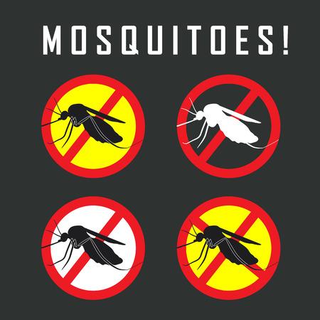 de muggen stop teken - vector afbeelding van een mug en de kans op malaria