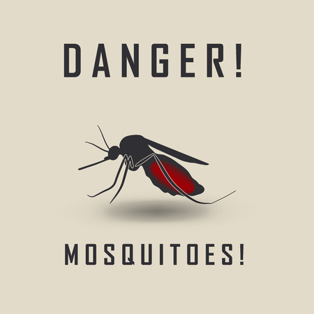 malaria: the mosquitoes stop sign - vector image of a mosquito and the risk of malaria