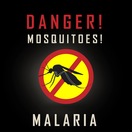 stop mosquito sign: the mosquitoes stop sign - vector image of a mosquito and the risk of malaria