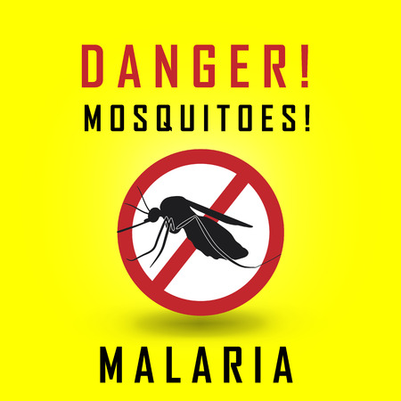 bloodsucker: the mosquitoes stop sign - vector image of a mosquito and the risk of malaria