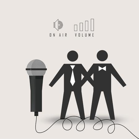 interviewed: vector illustration of businessman interviewed live