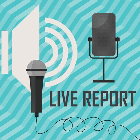 live stream report - vector illustration with microphones