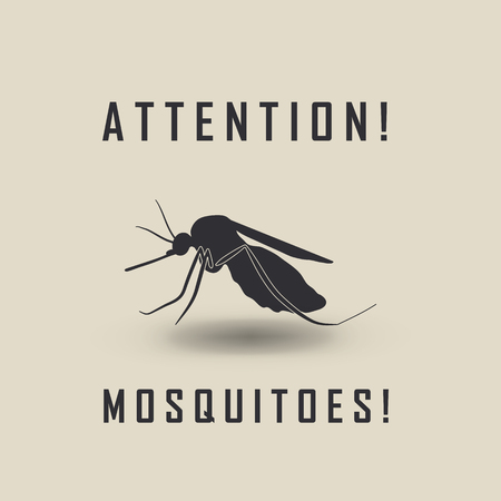 mosquitoes: the mosquitoes stop sign - vector image of a mosquito and the risk of malaria