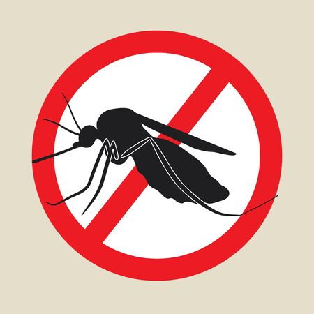 gnat: the mosquitoes stop sign - vector image of a mosquito in a red crossed out circle Illustration