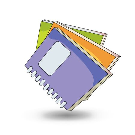 stack of papers: School notebooks. cartoon  style design - vector