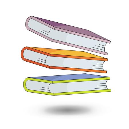 schoolboeken - vector illustratie in cartoon-stijl