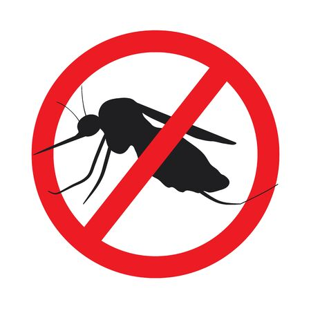 no mosquito: the mosquitoes stop sign - vector image of funny of a mosquito in a red crossed out circle