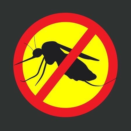 itch: the mosquitoes stop sign - vector image of funny of a mosquito in a red crossed out circle