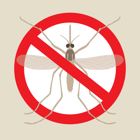 mosquitoes: the mosquitoes stop sign - vector image of funny of a mosquito in a red crossed out circle