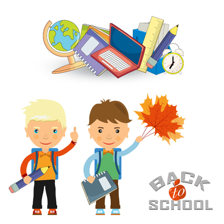 schoolboys: Back to school design. Vector illustration two schoolboys with satchels and school subjects