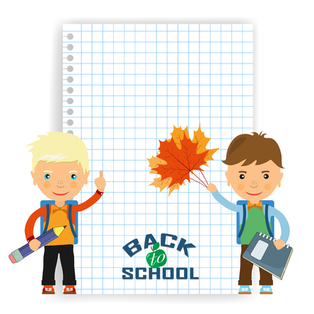 schoolboys: Back to school design. Vector illustration the sheet of paper in the box and two schoolboys with satchels