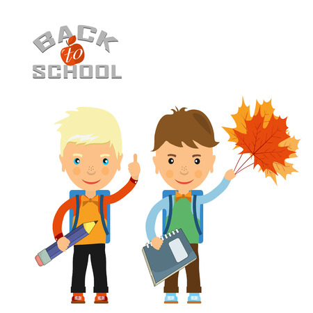 schoolboys: Back to school design. Vector illustration two schoolboys with satchels