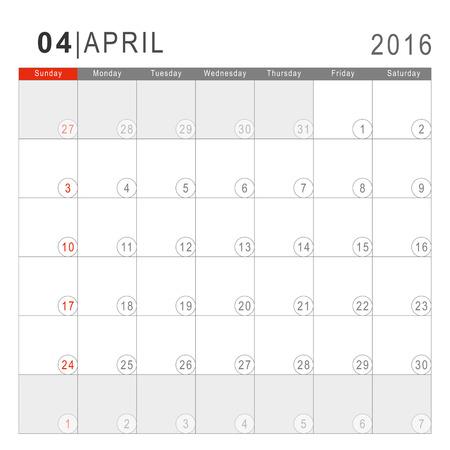 arial: Calendar 2016. Vector Flat Design Template. April. Week Starts Sundayand ends  with Saturday. Font Arial sans serif.