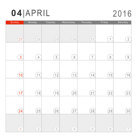 Calendar 2016. Vector Flat Design Template. April. Week Starts Sundayand ends  with Saturday. Font Arial sans serif.