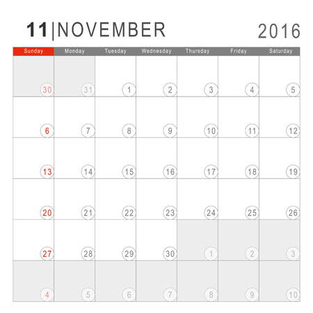Calendar 2016. Vector Flat Design Template. November. Week Starts Sundayand ends  with Saturday. Font Arial sans serif.