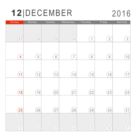 arial: Calendar 2016. Vector Flat Design Template. December. Week Starts Sundayand ends  with Saturday. Font Arial sans serif. Illustration