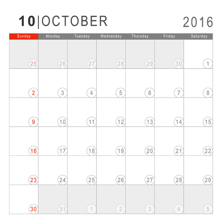 arial: Calendar 2016. Vector Flat Design Template. October. Week Starts Sundayand ends  with Saturday. Font Arial sans serif. Illustration