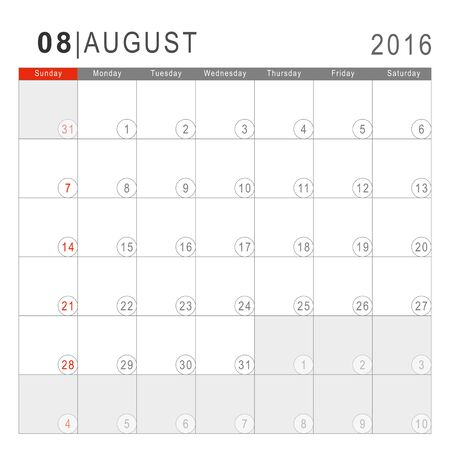 Calendar 2016. Vector Flat Design Template. August. Week Starts Sundayand ends  with Saturday. Font Arial sans serif.