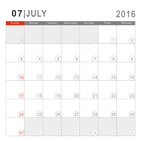 saturday: Calendar 2016. Vector Flat Design Template. July. Week Starts Sundayand ends  with Saturday. Font Arial sans serif.