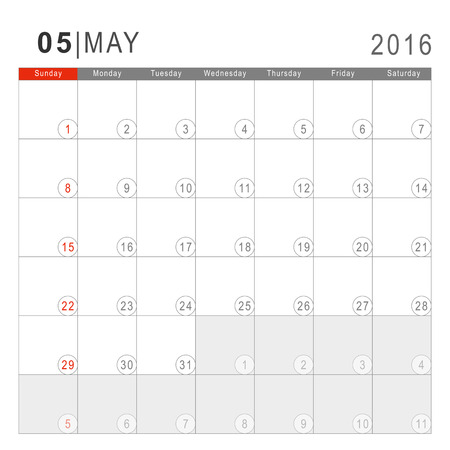 thursday: Calendar 2016. Vector Flat Design Template. May. Week Starts Sundayand ends  with Saturday. Font Arial sans serif. Illustration