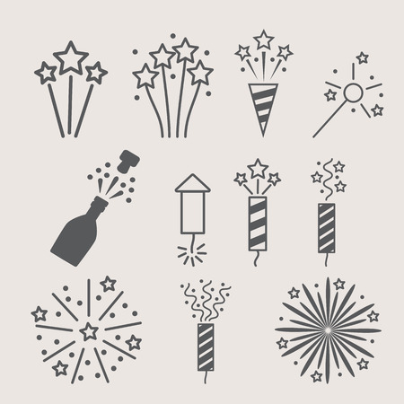 pyrotechnic: pyrotechnic icon set . Vector illustration Illustration