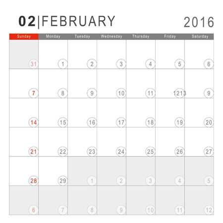arial: Calendar 2016. Vector Flat Design Template. February. Week Starts Sundayand ends  with Saturday. Font Arial sans serif.