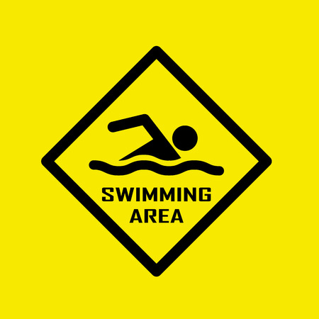 alerting: Swimming area and no swimming hazard- warning sign Illustration