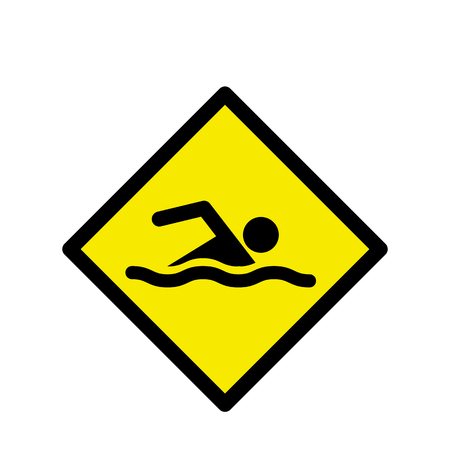 diving board: Swimming area and no swimming hazard- warning sign Illustration